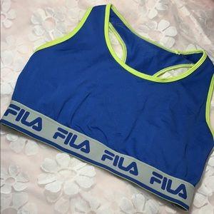 FILA neon r blue green sports bra crop top